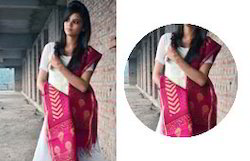 Maroon Red & White Chanderi Dupatta