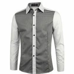Grey And White Casual Men's Designer Shirt