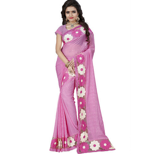 154365e0c6 Blended Chiffon Wedding Wear Embroidered Chiffon Saree, With Blouse Piece