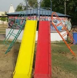 Double Slider 10' Long Metal Slides With Step Ladders