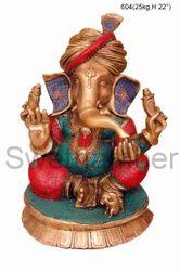 Brass Ganesha Sitting Statue