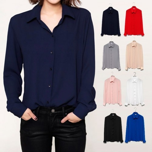 Womens Long Sleeve Chiffon Shirts 432ac6bc5f