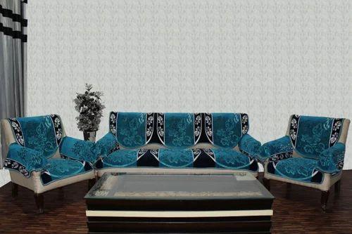 Floral Chenille Sofa Cover Farari Blue, Rs 960 /set, Aasma Textiles ...
