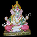 Painted White Marble Ganesh Statue