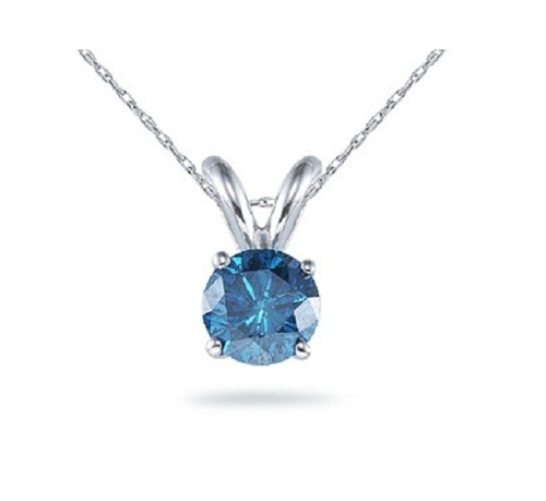 with princess chain in diamond solitaire cut necklace gold blue ct pendant white
