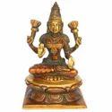 Golden (gold Plated) Indian Religious Figure Goddess Lakshmi Of Brass Statue