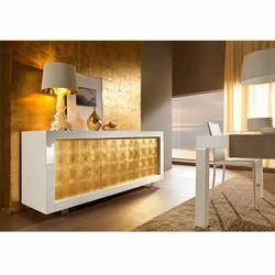 P1 Laccato Bianco Ante Oro Console Table