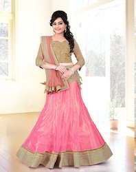 Pink & Chikoo Colored Net & Raw Silk Lehenga