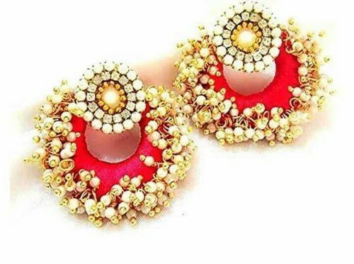 Nirupama Threadz Red Colour Thread Earrings