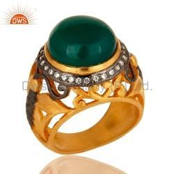 CZ Green Onyx Gemstone Gold Plated Ring Jewelry