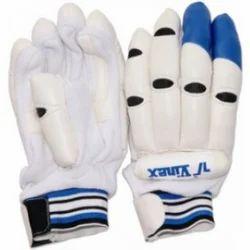 White and Blue Vinex Batting Gloves Bend Finger, Size: Full Finger
