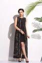 Wedding Wear Sleeveless Ladies Printed Black Long Dress
