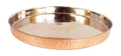 Indian Art Villa Steel Copper Hammered Dinner Plate, Size: 13.0 X 13.0 (INCH)