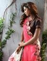 Pink and White Printed Saree