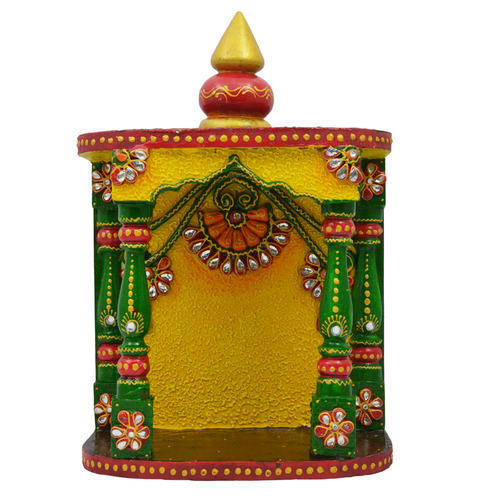 wooden paper mache kundan temple with kundan work at rs 475 piece