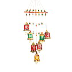 Multicolor ExclusiveLane Terracotta Handpainted Bell Hanging