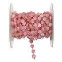 Pink Jade Coin Shape Gemstone Beaded Chain