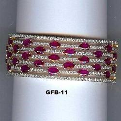 18Kt Gold Fine Ruby Stone Bangle