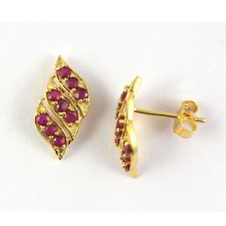 14K Ruby Gemstone Yellow Gold Earrings
