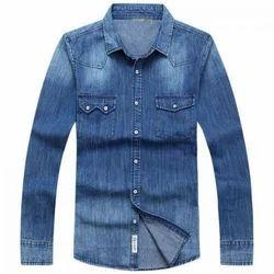 Men Plain Casual Denim Shirt