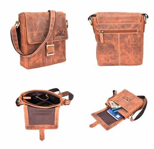 75cce69a62 Cognac Bull Kraft Men s Vintage Hunter Genuine Leather Messenger Bag ...