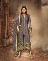 Gray Fancy Designer Traditional Salwar Suit