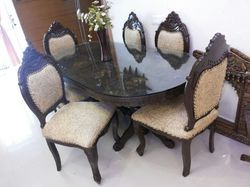 Wooden Carved Cushion Dining Table Chair