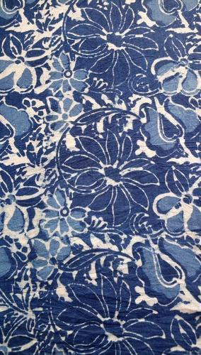 Blue Floral Printed Fabric