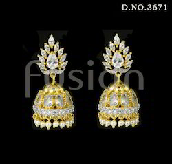 American Diamond Jhumka Earrings