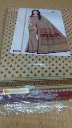 Kota Cotton Printed Sarees With Blouse Material.