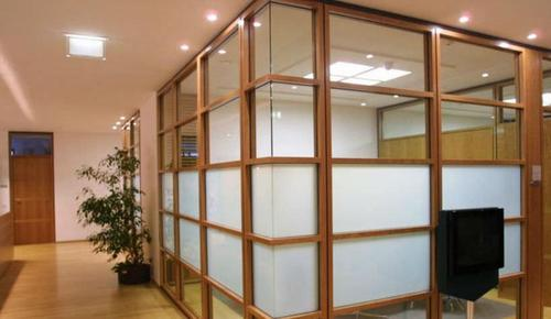 Wood and glass partition commercial interior decoration - Best way to soundproof interior walls ...