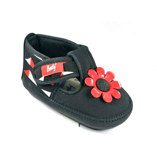 a65b3ebc2f3c8 Indman Booty Black And Red Baby Low Ankle Shoes With Flower Fitting ...