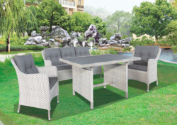 Check Style Outdoor Wicker Dining Table Set