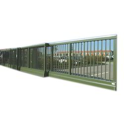 Black Mild Steel Automatic Telescopic Gate, For Industrial