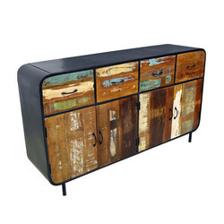 Industrial Iron Reclaimed Wooden 4 Drawer Sideboards
