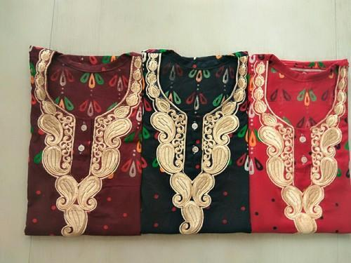 Red Embroidery Gujri Cotton Material