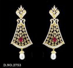 Traditional Ruby Pearl Earrings