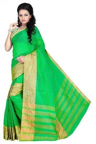 35e07486 South Cotton Casual Wear Weavedeal Exclusive Green Cotton Chex Saree ...