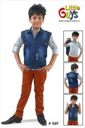 Kids Denim Half Jacket Suit