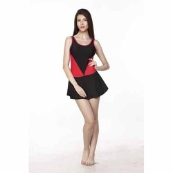 Black and Red Ladies Frock Swimwear