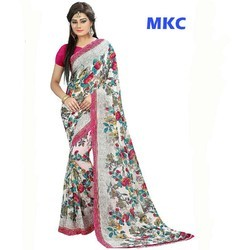 MKC Georgette Floral Printed Saree, Hand