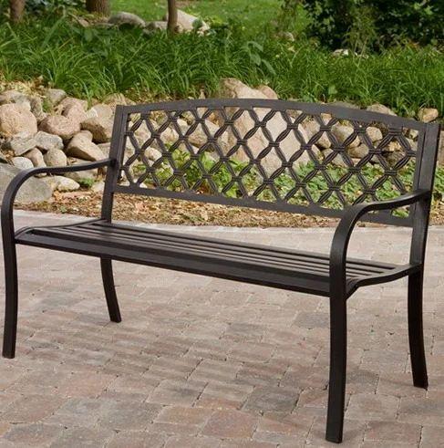 Superbe One Step Furniture Wrought Iron Garden Bench