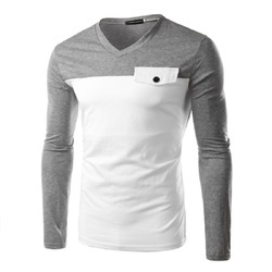 d9cc40797d17 Grey And White Cotton/Linen Mens Full Sleeve V Neck T Shirt, Rs 399 ...