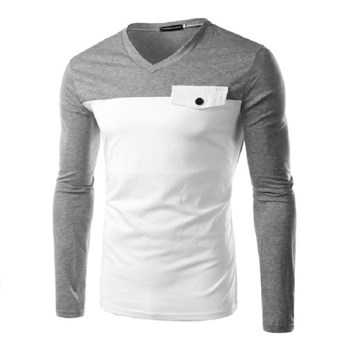 521c9eb930 Grey And White Cotton Linen Mens Full Sleeve V Neck T Shirt