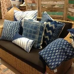 Cotton Indigo Block Rugs Dari Cushion Cover