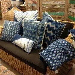 Cotton Indigo Block Rugs Dari Cushion Cover