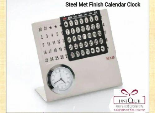 Steel Met Finish Calendar Clock