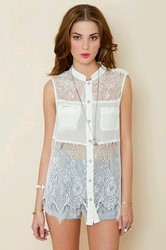 Sleeveless Fancy Lace Shirt Top