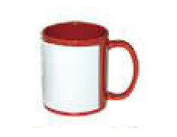 11 OZ Red Color Mug With White Patch