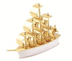 Gold Finish Ship Showpiece